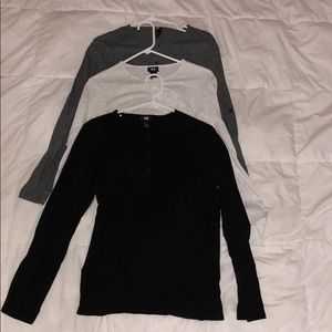 H & M   PACK OF 3 LONG SLEEVE SHIRTS
